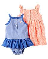 Набор из платья и боди Летнее настроение Картерс 2-Pack Neon Dress & Sunsuit Set
