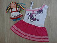 """Платье-сарафан """"Бабочки"""" для девочки бело-розовый р.3"""