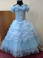 Блестящее голубое детское платье на 5-7 лет