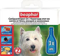 Caniguard Spot On краплі від бліх та кліщів для цуценят і собак середніх порід Beaphar