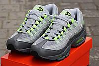 Мужские кроссовки NIKE 95, плотная сетка + пресс кожа, серые / кроссовки мужские НАЙК 95, модные