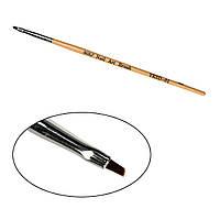 Кисть для геля скошенная № 1 деревянная ручка