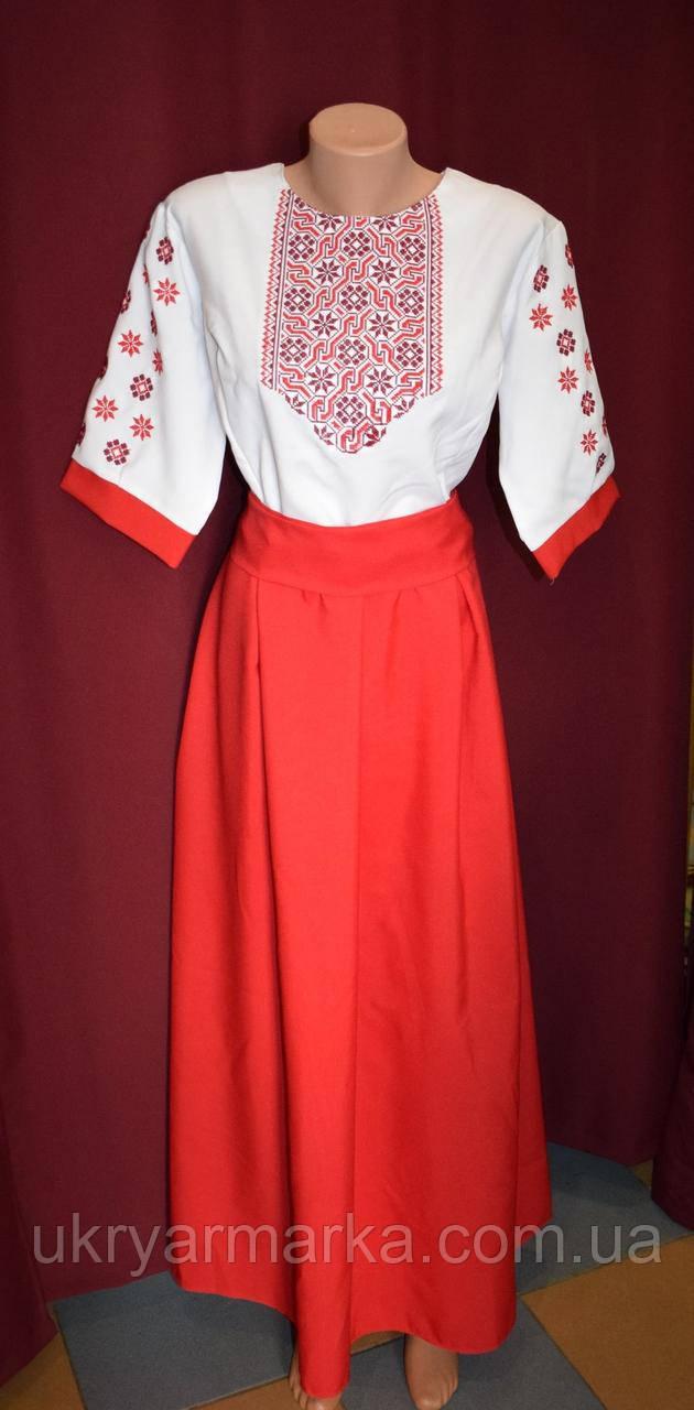 """Довге вишите плаття """"Зірка"""" червоне"""