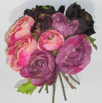 Букет искусственных ранункулюсов 30 см черно-сиренево-розовый