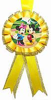 """Медаль детская """"Микки Маус с Минни Маус"""". Диаметр с бантом: 85мм."""