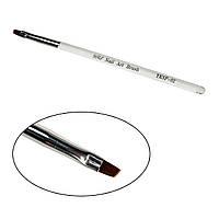 Кисть для геля скошенная № 2, прозрачная ручка