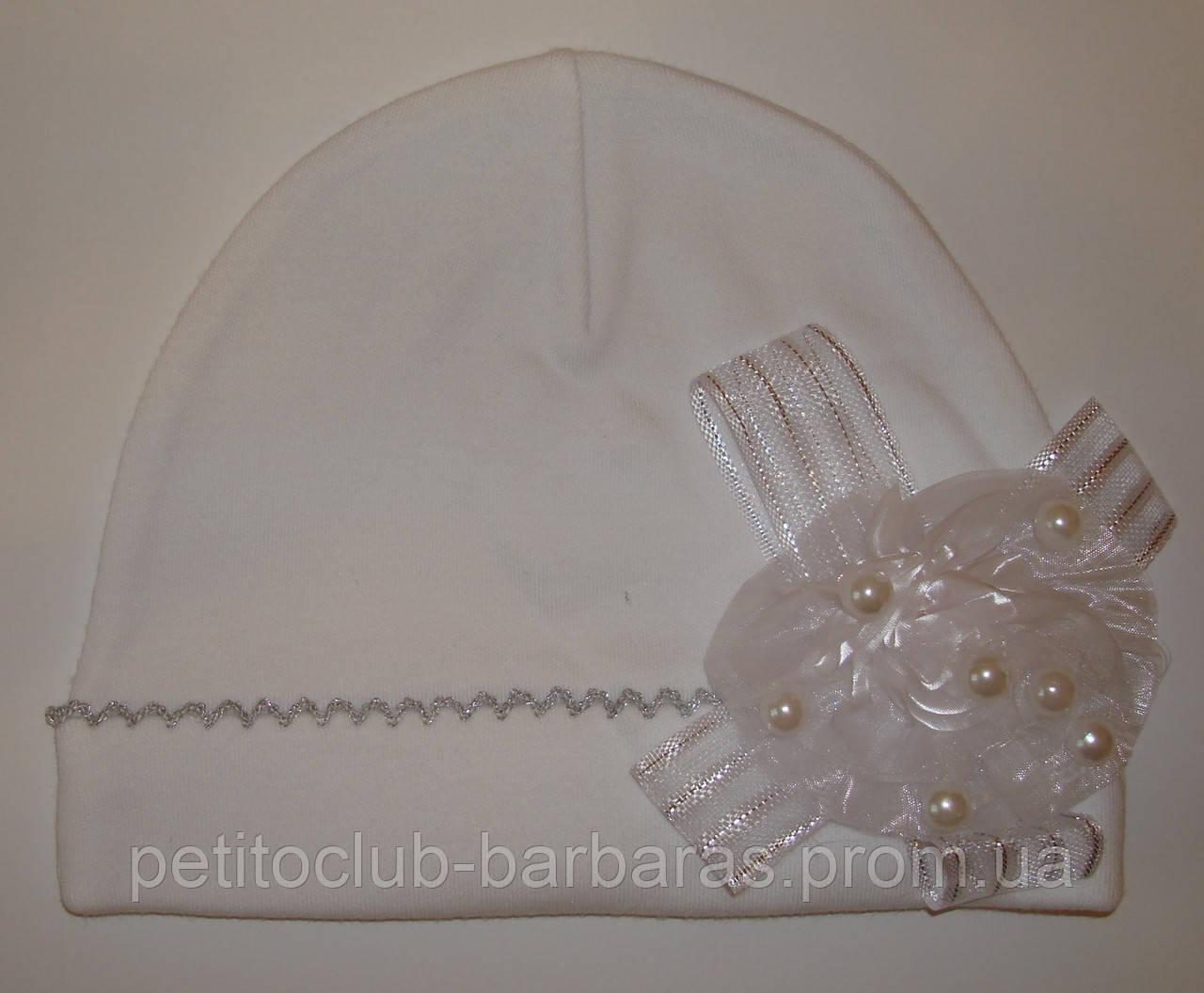 Нарядная шапка трикотажная с цветком