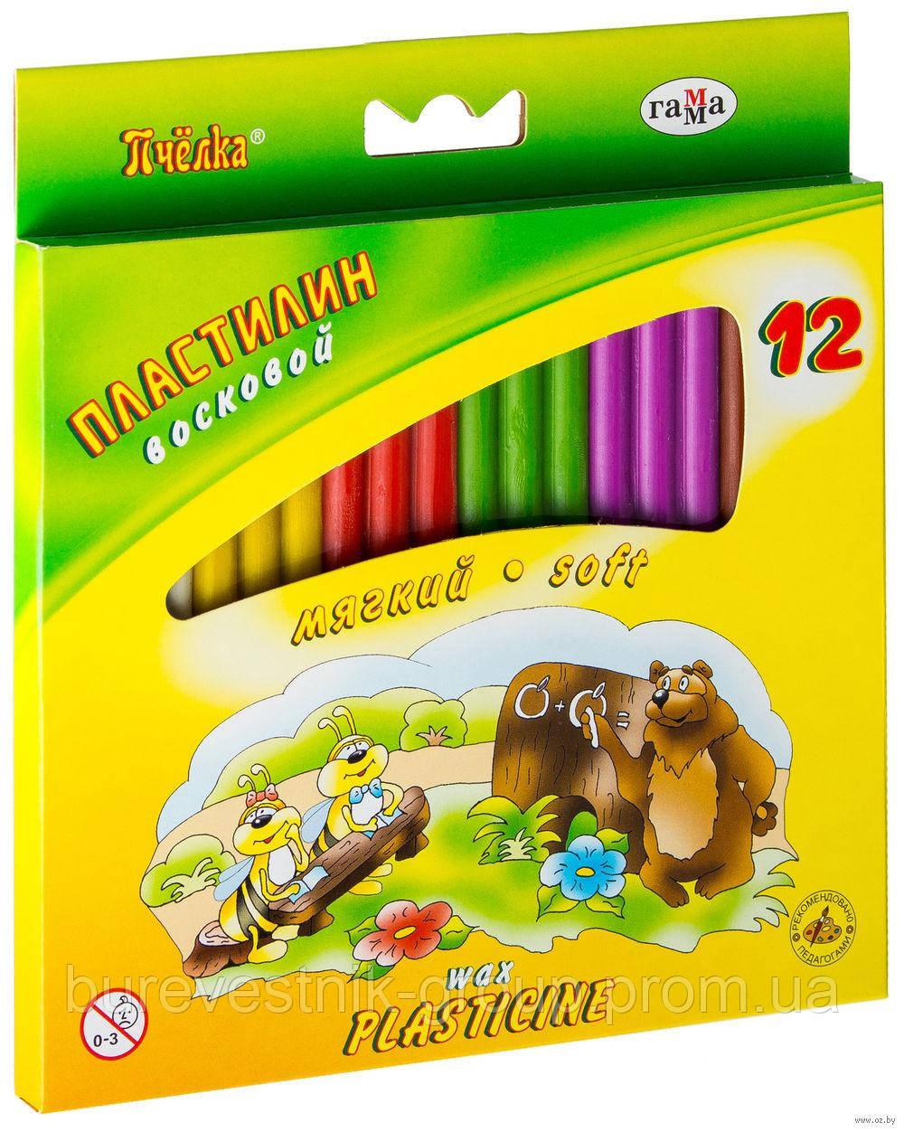 "Пластилин восковой Гамма ""Пчелка"" 12цв."