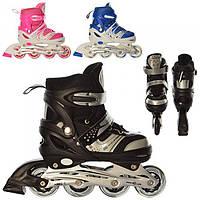 Раздвижные роликовые коньки A 12100-L, алюминиевая рама, шнуровка + бакля, ПУ колеса 70 мм, 3 цвета