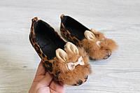 Леопардовые детские туфли с мехом