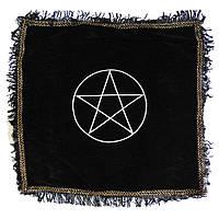 Скатерть для гадания черная Пентаграмма с бахромой