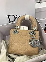 Стильная мини-сумочка LADY DIOR MINI WITH CHAIN бежевая