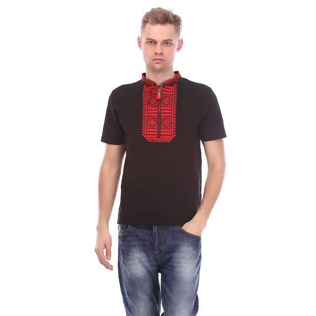 Черная мужская футболка с красной вышивкой