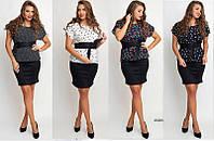 Женский трикотажный костюм блюза+юбка. Ткань: трикотаж/шпатель. Размер: 42-44, 44-46, 48-50, 52-54.