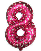 Шар цифра фольгированная 8 розовая с сердечками 84х53 см