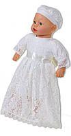 Крестильное платье для девочек молочное 80 весна/осень