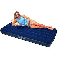 Большой полуторный надувной матрас Intex 68758, темно-синий винил, 137х191х22 см, вес 4 кг