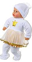 Крестильное платье для девочек с кружевом в золоте