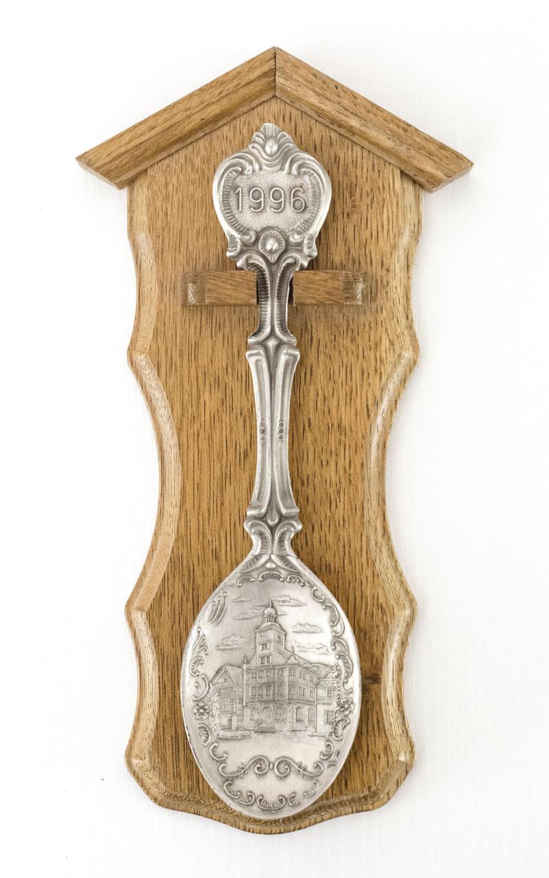 Коллекционная оловянная ложка 1996 год, олово дуб, Германия