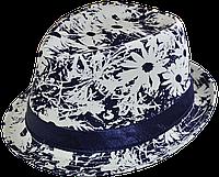 Шляпа цветочная летняя трилби Ромашка синего цвета