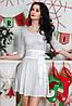 Нарядное платье из тонкого трикотажа в виде кружева, с атласным поясом