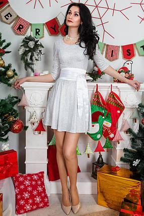 Нарядное платье из тонкого трикотажа в виде кружева, с атласным поясом, фото 2
