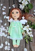 Тряпичная кукла - ангел ручной работы в подарок в зеленом платье ангел, 23 см