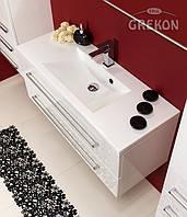 Белый Шкафчик (тумба для раковины) + белая раковина GREKON CLEVER 100 х 39 см