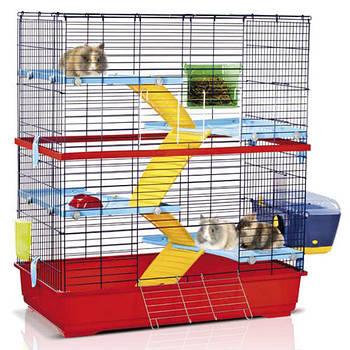 Клетка Imac АЙМАК ДАБЛ 100 для грызунов 4-х ярусная, пластик, красный, 100х55х115 см