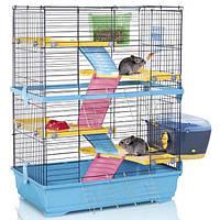 АЙМАК ДАБЛ 80 клетка для шиншилл и кроликов 4-х ярусная, пластик, голубой