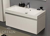 Белый Шкафчик (тумба для раковины) + белая раковина GREKON SHELLY 100 х 46 см