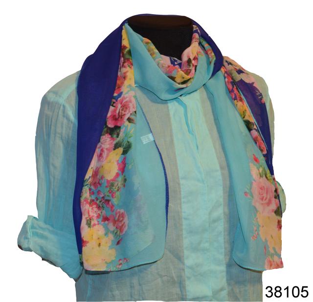 Женский синий с бирюзовым модный шифоновый шарф Кармен 1