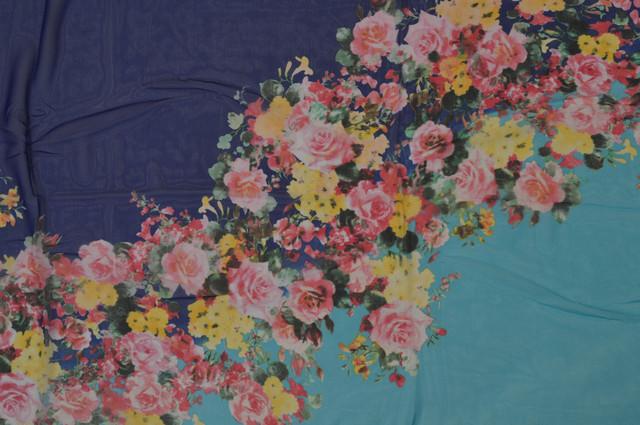 Женский синий с бирюзовым модный шифоновый шарф Кармен 2