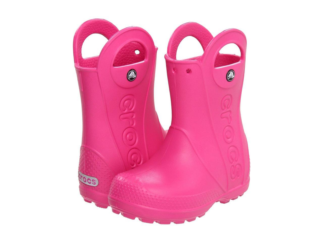 Сапоги резиновые для девочки дождевики Кроксы с ручками / Crocs Kids Handle It Rain Boot (12803), Ярко-розовые