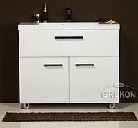 Белый Шкафчик (тумба для раковины) + белая раковина GREKON LIZ 100 х 35 см