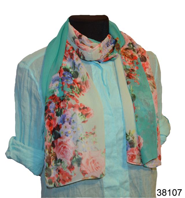 Женский бирюзовый с серым модный шифоновый шарф Кармен 1