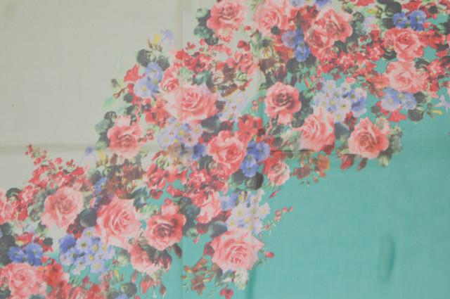 Женский бирюзовый с серым модный шифоновый шарф Кармен 2