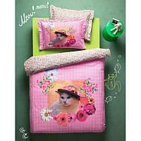 Постельное белье Karaca Home Gatto розовое ранфорс подростковое