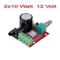 Усилитель звука 2х10W клас D, модуль PAM8610 с регулятором громкости и входными/выходными разьемами