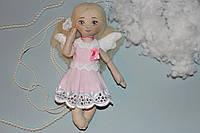Текстильный ангел ручной работы в розовом платье