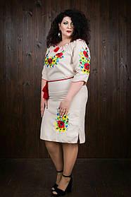 Льняное вышитое платье