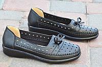 Мокасины, туфли женские летние черные качественная искусственная кожа легкие 2017.