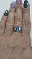 Кольцо серебряное с синей эмалью  Вышиванка, фото 1