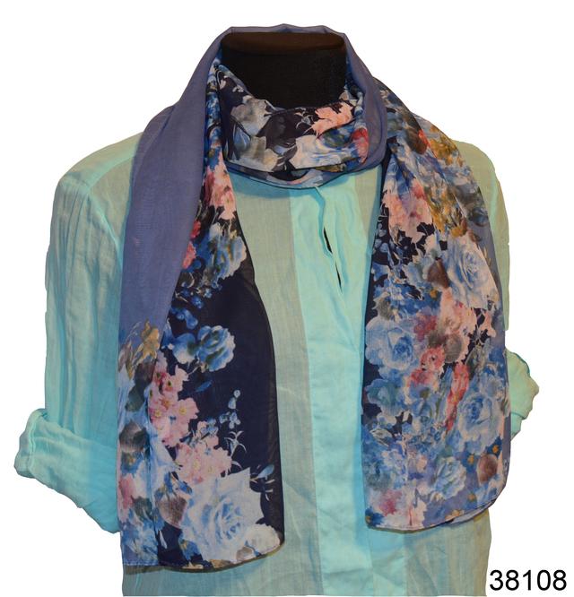 Женский синий модный шифоновый шарф Кармен 1
