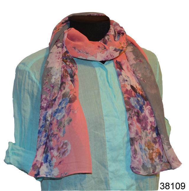 Женский серый с розовым модный шифоновый шарф Кармен 1