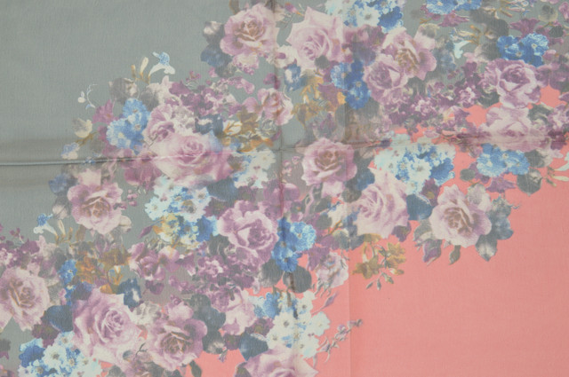 Женский серый с розовым модный шифоновый шарф Кармен 2