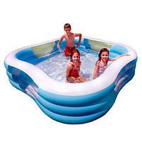 Детский надувной бассейн Intex 57495, 3 кольца, клапан для слива воды, 229х229х56 см