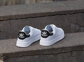 Кроссовки Adidas Stan Smith белые с черным топ реплика, фото 2