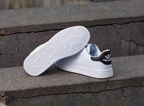 Кроссовки Adidas Stan Smith белые с черным топ реплика, фото 3