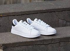 Кроссовки Adidas Stan Smith белые с черным топ реплика